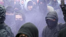 Manifestants à Douvres lors des heurts